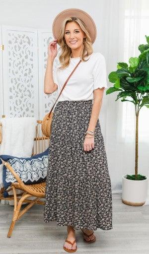 Make You Smile Floral Skirt, Black