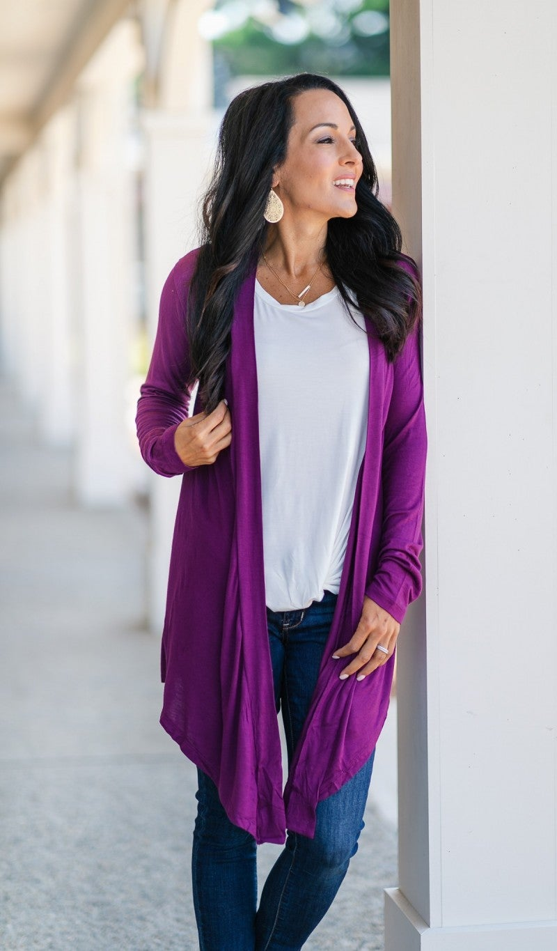 Pass On By Cardigan- Plum, Black or Olive