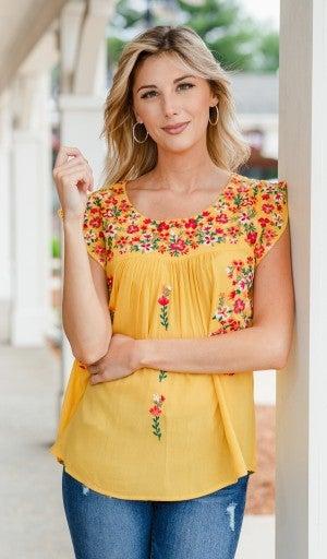 Daisy Season Top, Yellow