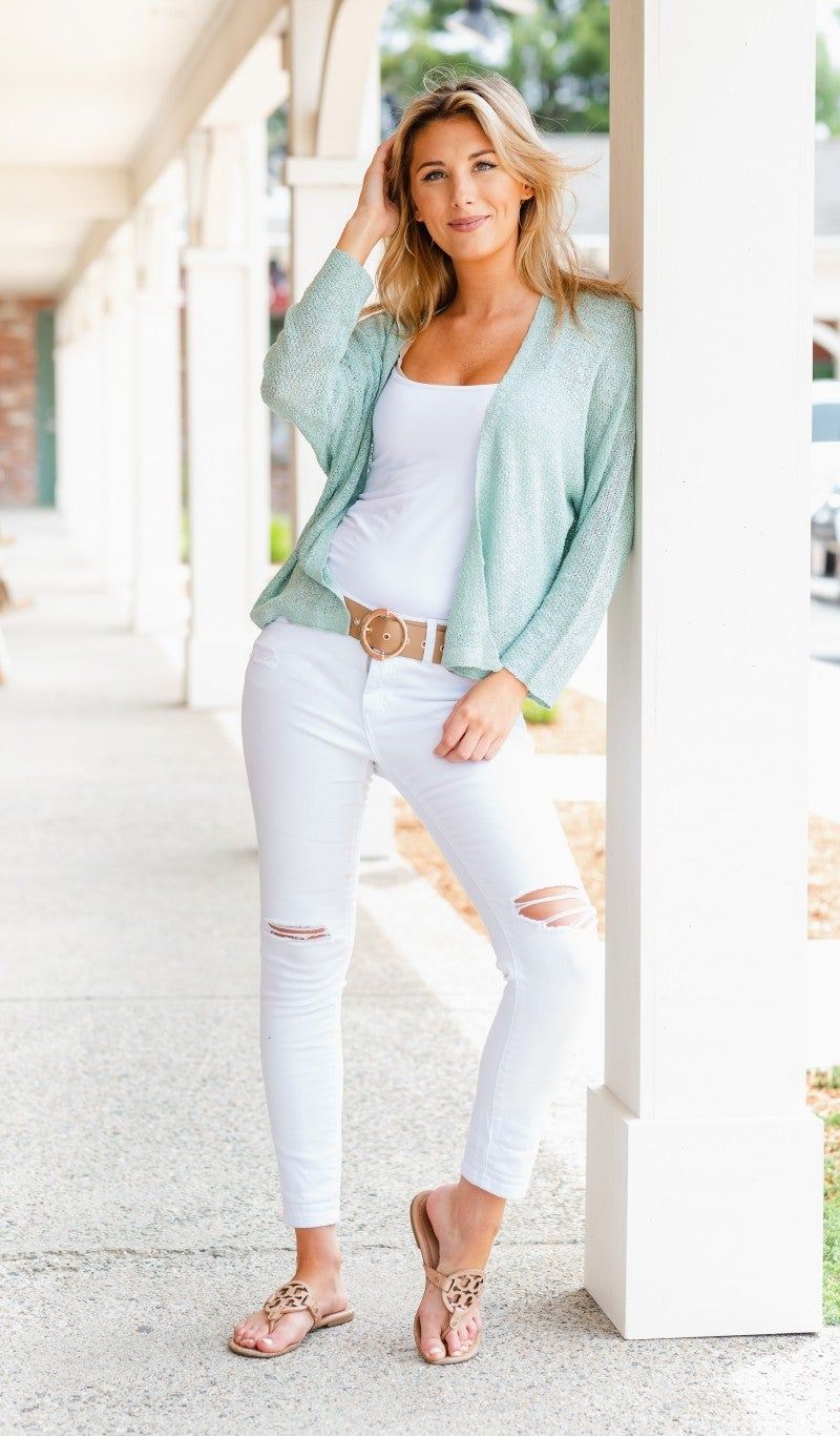 Feel The Vibes Cardigan, Mint *Final Sale*