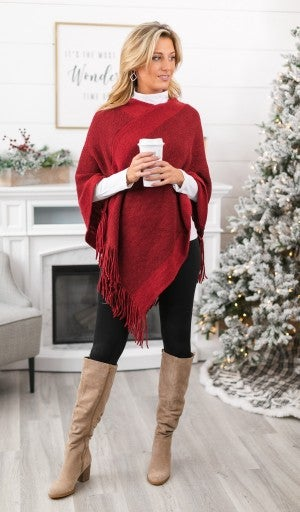 Winter's Melody Poncho, Burgundy