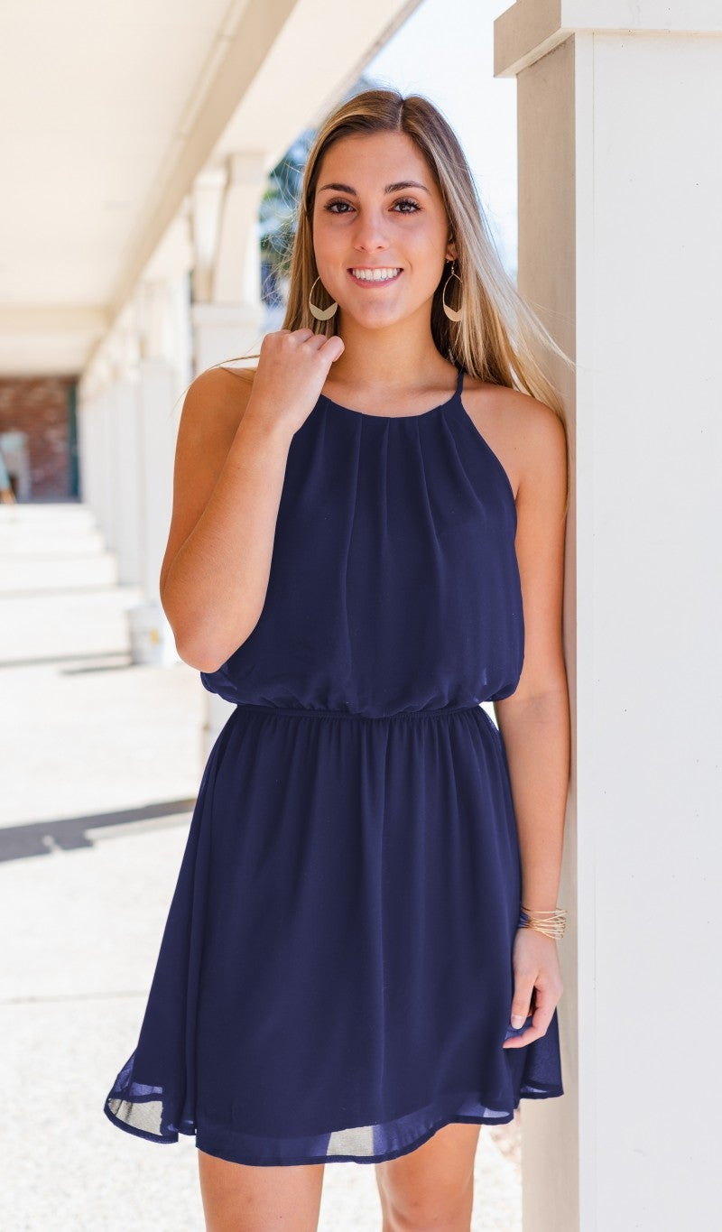 Warmer Days Ahead Dress, Navy