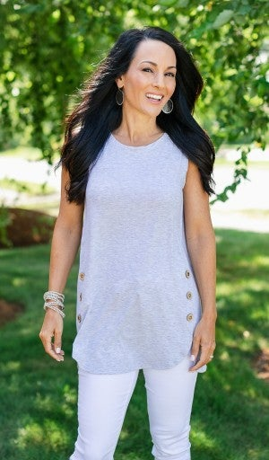 Cute As A Button Tank, Grey