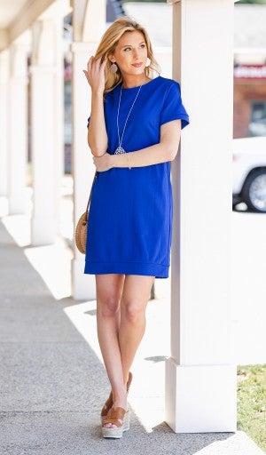 Carefree Kinda Day Dress, Cobalt