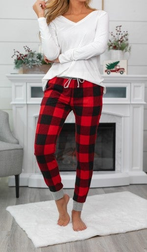 Lets' Get Cozy Joggers, Ivory or Red Check Plaid