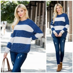 Too Good To Be True Sweater, Navy/Cream