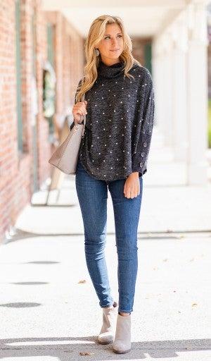 Polka Dot Wonder Sweater, Charcoal