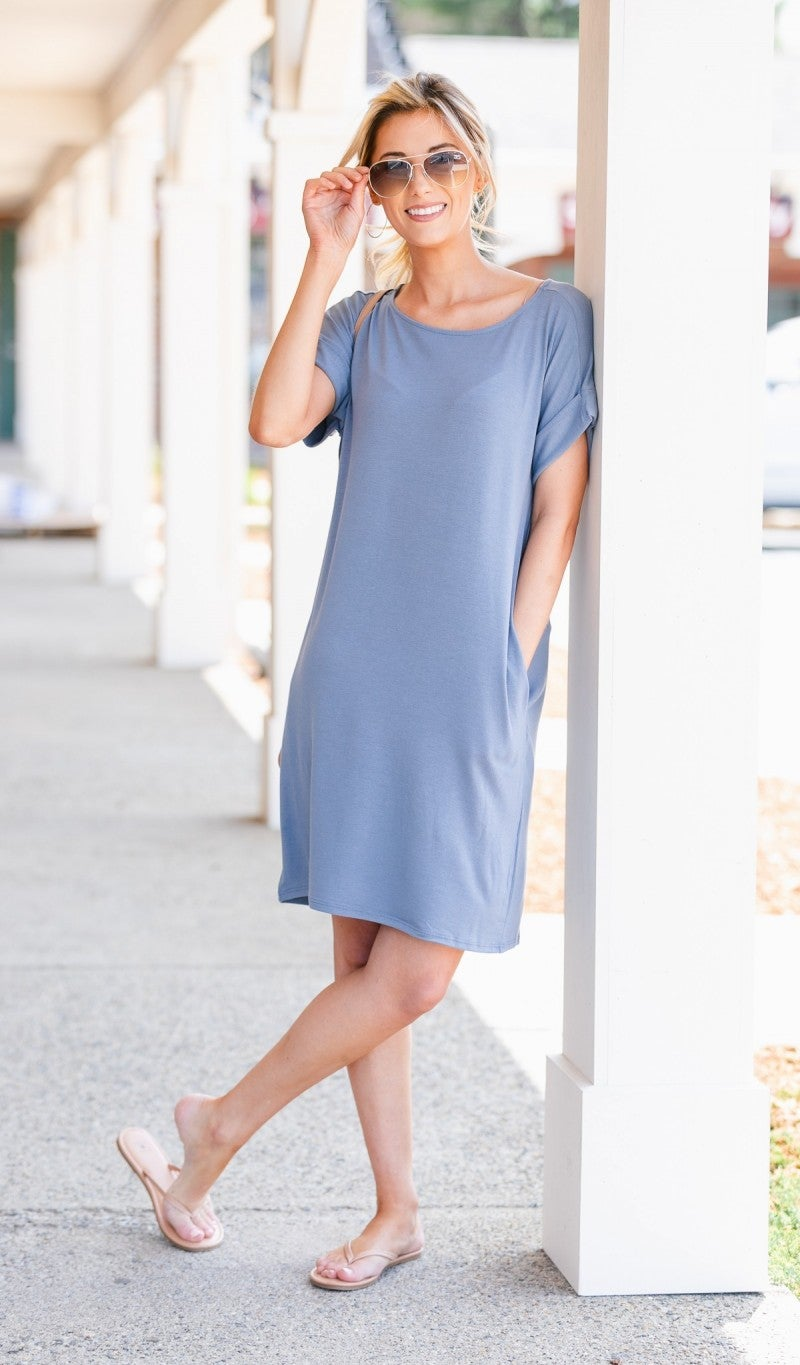 Essential T Shirt Dress, Cement