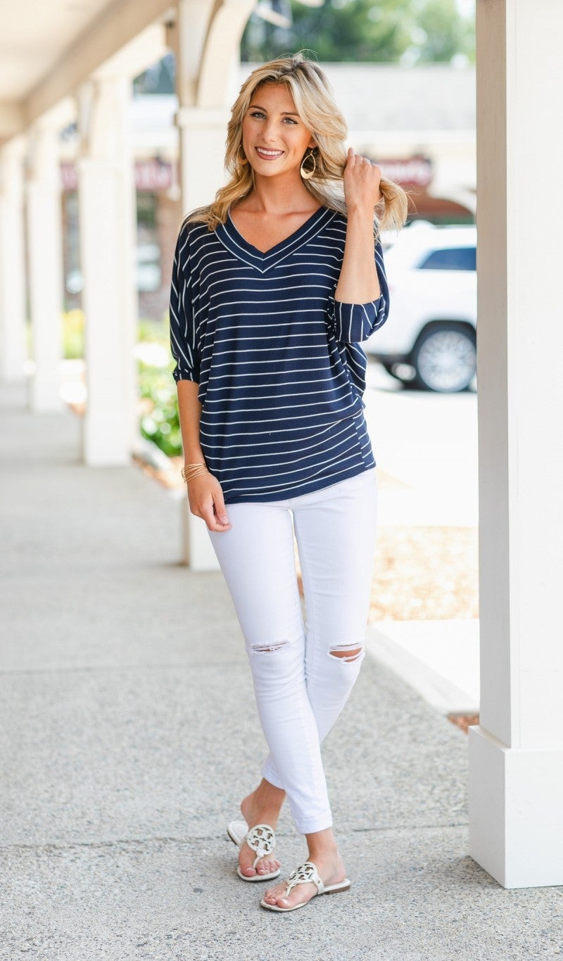 Like Your Style Striped Top, Navy & Off White