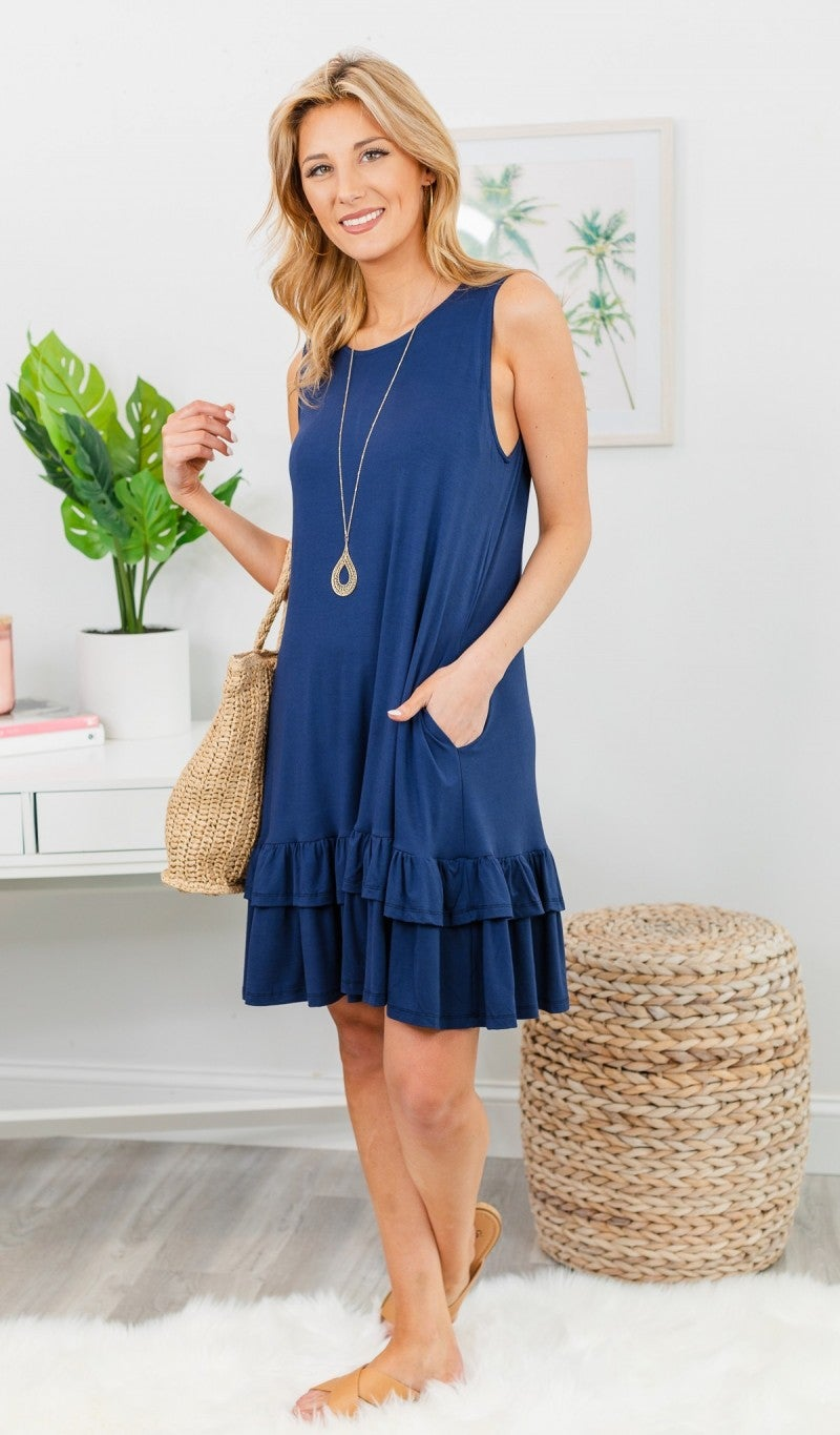 Calling Your Name Dress, Navy