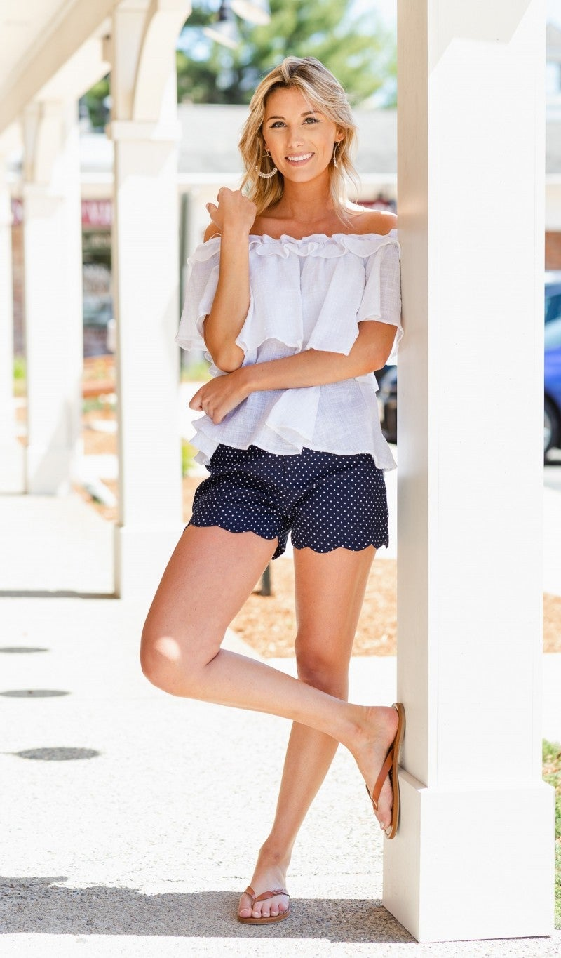 Shoreline Scalloped Shorts, Navy polka Dot