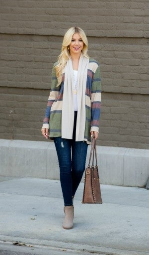 Color Made Simple Cardigan, Olive