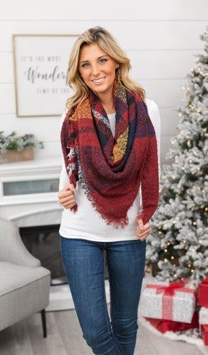 Forever Plaid Blanket Scarf, Burgundy