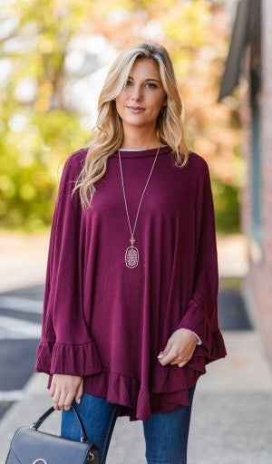 The Abbey Poncho/Sweater, Burgundy