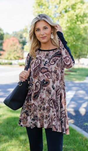 Fall In Love Easily Tunic, Mocha/Black