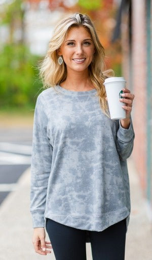 Staying Home Tunic, Grey Tie Dye