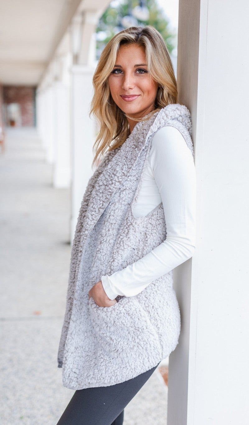 Fall Fave Sherpa Vest, Grey