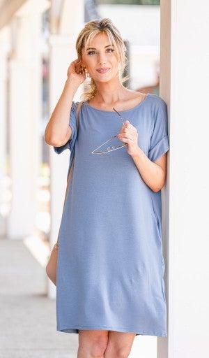 Essential T Shirt Dress, Cement