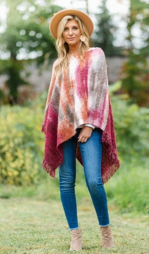 The Watercolor Poncho, Burgundy