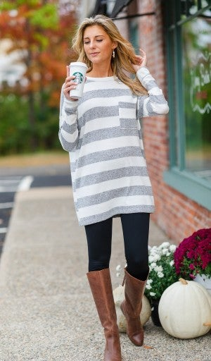 Better Days Ahead Tunic, Ivory/Heather Grey