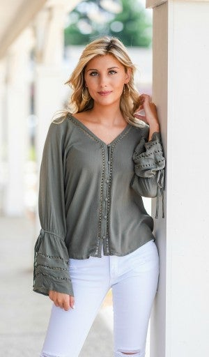 Falling For You Top, Olive