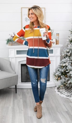 Easy Choice Striped Hoodie, Multi- Colored
