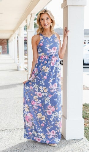 Flower Power Maxi, Navy