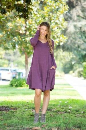 The Morgan Long Sleeve Dress, Eggplant