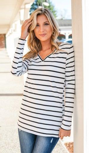 Striped Staple, Black & Ivory Stripe