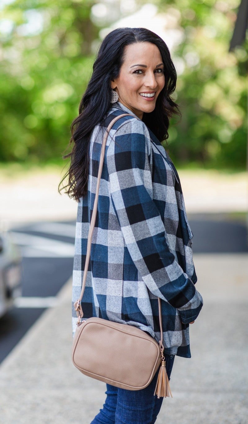 Falling For You Plaid Cardigan, Navy
