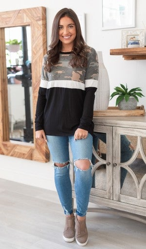 Camo We Love Top, Black *Final Sale*
