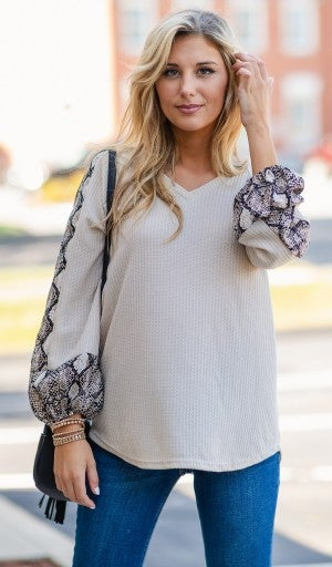 Ready For Fun Top, Taupe