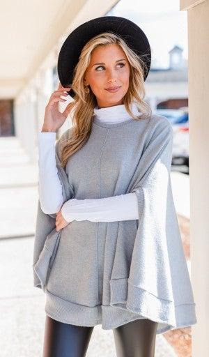 Manhattan Nights Sweater/Poncho, Heather Grey *Final Sale*