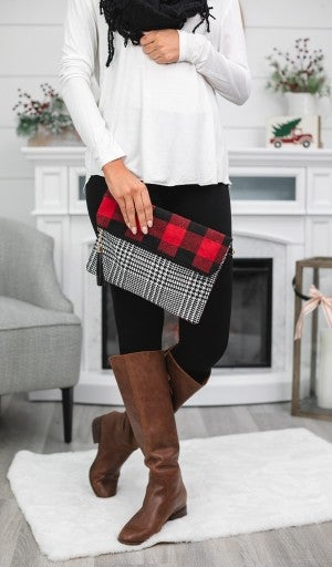 BUNDLE! Winter Collection- Black Fringe Infinity Scarf & Buffalo Check Fold Over Clutch