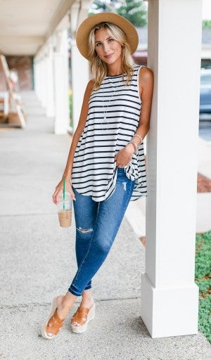 Want To Be Noticed Tunic, Ivory Black Stripe