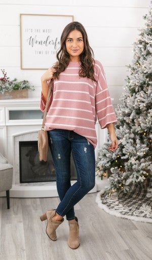 Soft As Can Be Striped Tunic, Pink