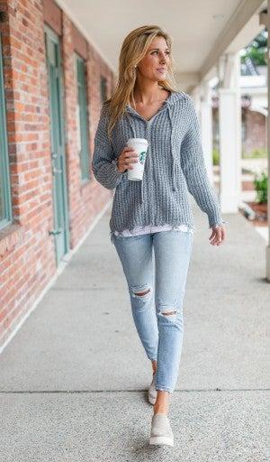 Crisp Days Knit Zip-up, Grey