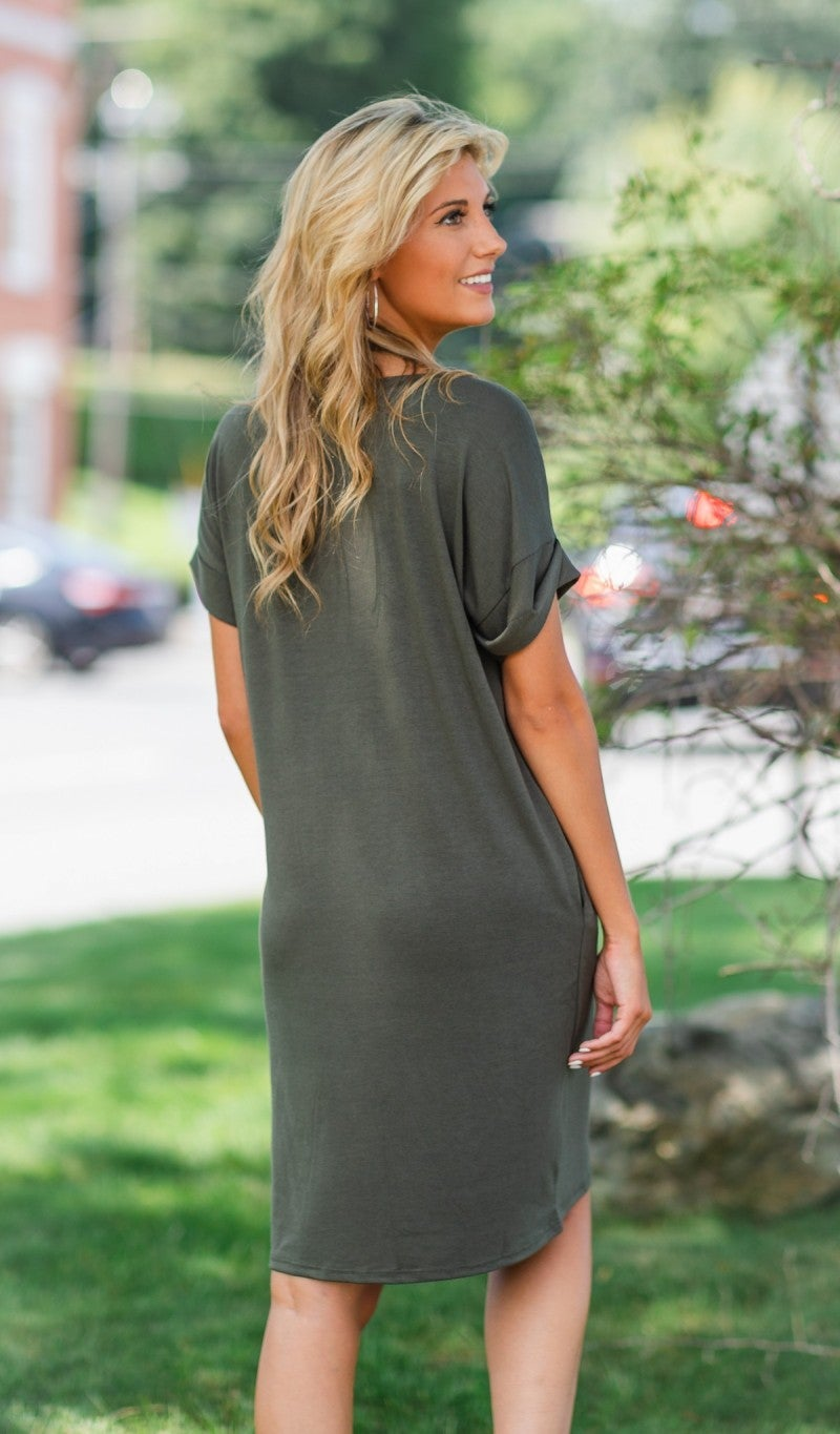 Essential V Neck T Shirt Dress- Black, Wine, or Olive