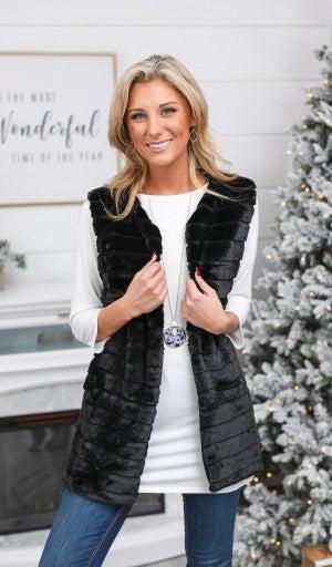 Midnight Strikes Faux Fur Vest, Black