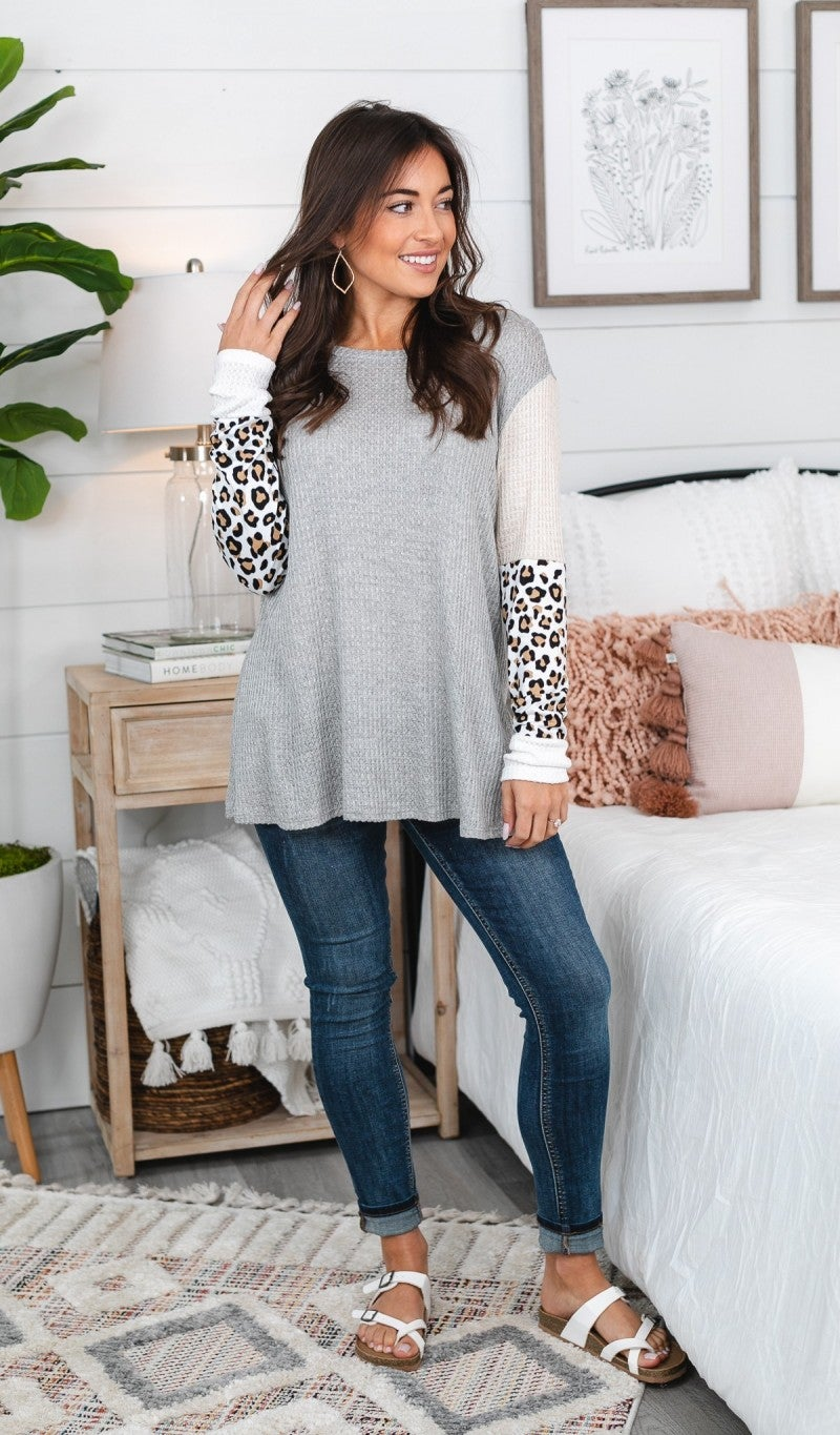Stepping Into The Spotlight Top - Heather Grey