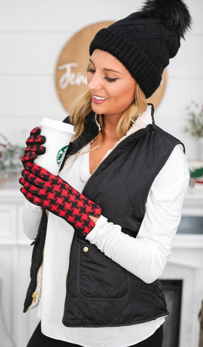 Keep You Warm Gloves, Red & Black *Final Sale*