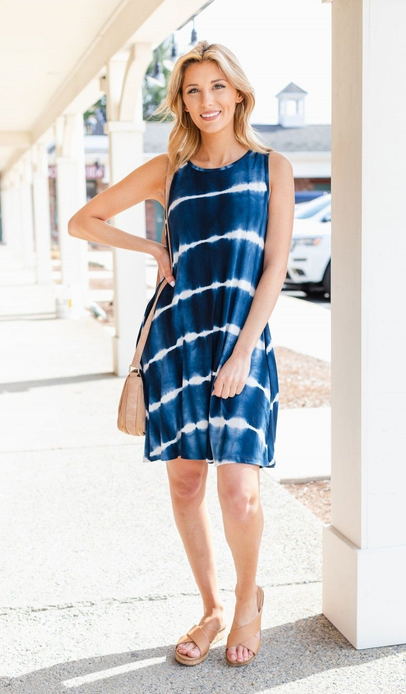 The Morgan Tie-Dye Dress, Navy