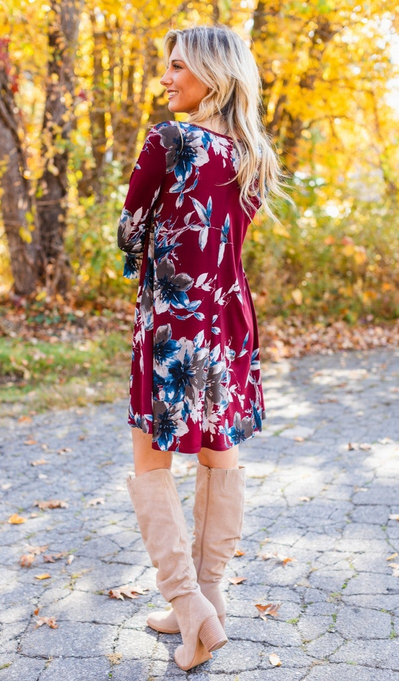 Flourish Forever Dress, Burgundy