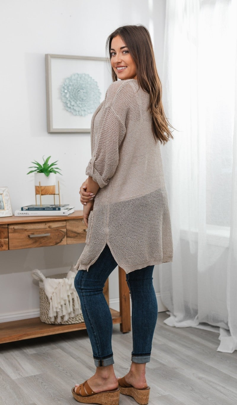 Keeping It Interesting Cardigan, Jade or Taupe