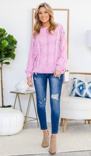 Favorite Soft Cable Sweater in Lilac