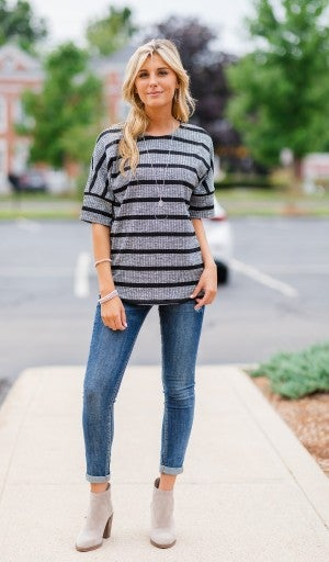 Casual Thoughts Striped Top, Heathered Grey