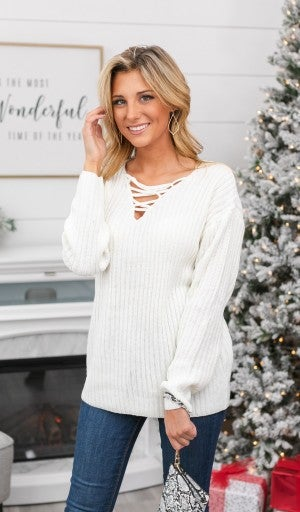 Cross On By Sweater, Ivory
