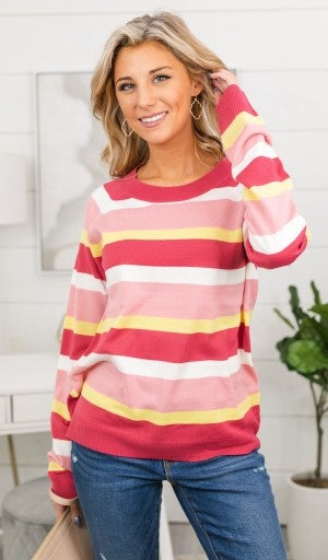 Straight From The Heart Sweater, Pink