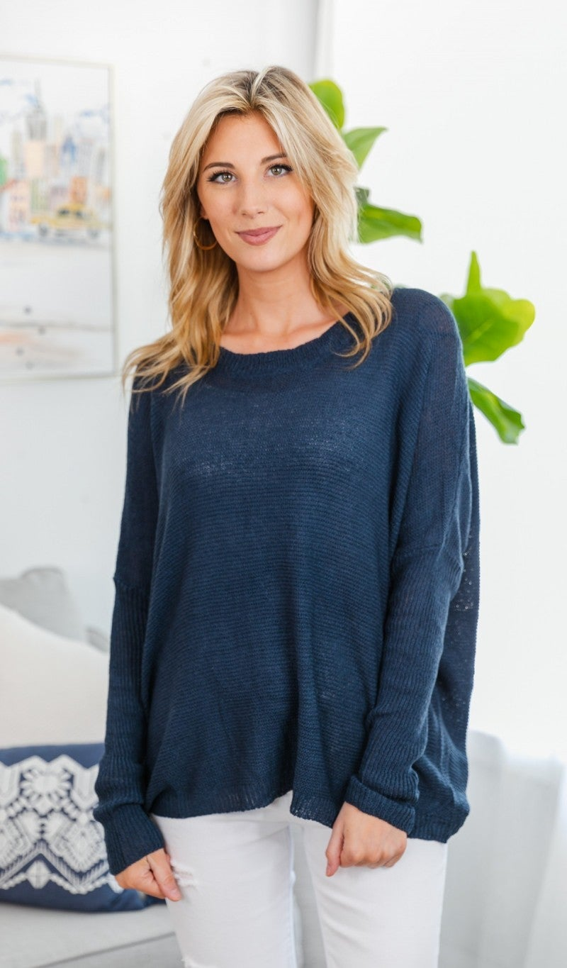 Simply the Best Lightweight Sweater, Navy