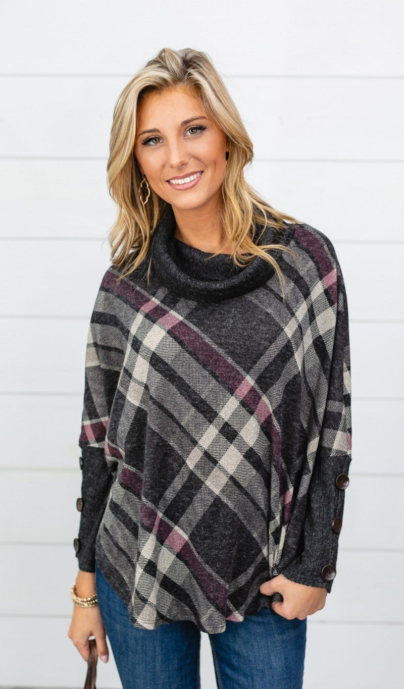 The Harley Plaid Sweater, Charcoal